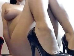 Shoe-fetish solo with me flashing my pussy while feet on cam