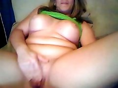 Thick hot milf lady with big boobs on webcam fingering herself