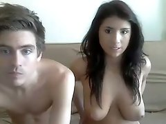 Busty teen brunette and her handsome boyfriend on webcam
