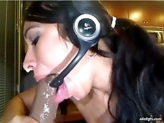 Kinky Latin babe is sucking huge dildo before taking it deep up her snatch