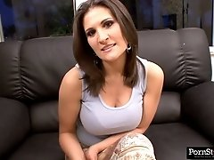 Serious looking but hot brunette Austin Kincaid boasts of rounded ass on cam