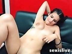 Brunette milf drink milk from her big tits