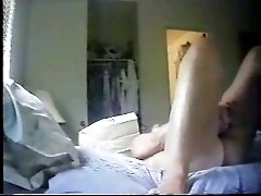 Mature chubby lady drilling herself with a dildo on hidden cam