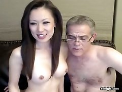 Hilarious straight haired Asian wifey lets her grey haired hubby jam tits