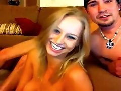 Two horny boys bang one slutty blond chick on webcam