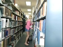 Small tittied blond girlie presents steamy solo in public library