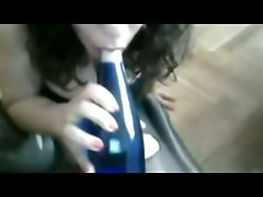 Freaky white girl with big breasts masturbates on webcam