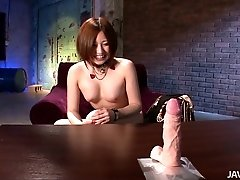 Naughty chick Ruri Haruka is fingering her snatch on cam