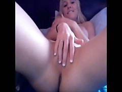 Stunning blonde amateur babe with big juicy boobs on webcam