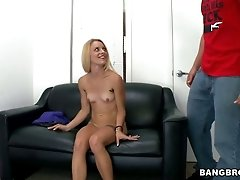 Kinky blonde bitch Cameron Canada gives a head on a casting