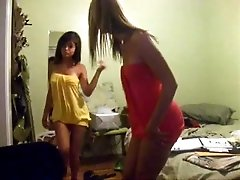 Attractive webcam hotties in sexy dresses put on a good show