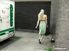 Girl is pissing outdoor