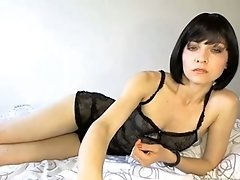 Torrid short haired all alone webcam babe in lingerie posed for me a bit
