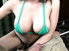 Buxom black haired beauty in red bikini swallows thick cock on POV cam