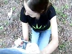 Student girl gives me a head deep in a woods on a camera