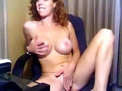 Curly haired busty housewife masturbates all naked for me