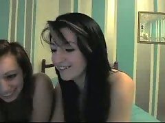 Frisky white young bitches on webcam flashing goodies in bed