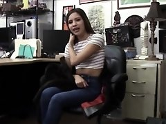 A naughty pawn guy fucks a cute exotic beauty in the office