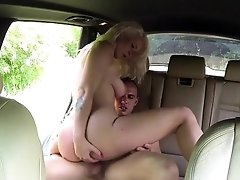 Blonde Milf taxi driver fucks guy in public