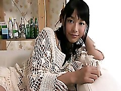 Slutty Asian gal in white knitted top Tomoe Yamanaka likes webcam in her room