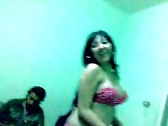 Sexy and cute Arabic brunette babe bellydancing on cam