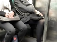 Spy camera footage of women with nice legs sitting on the t