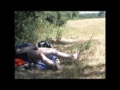 Fat German guy jacks off in the bushes on hidden cam