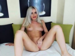 Sucks and Fucks Big Dildo With Blonde Babe on Cam