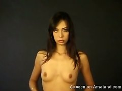 Sexy svelte and tall Arab beauty poses all nude flashing her titties