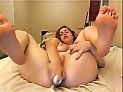 Hot webcam young PAWG slut with a huge dildo for her dimple