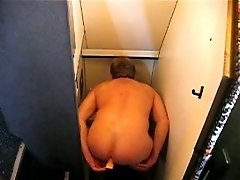 Perverted dude gets filmed jerking off in public restroom