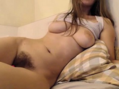 Amateur big tits babe with hairy pussy on webcam