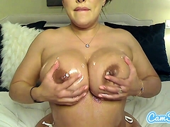 Oiled up busty milf rides