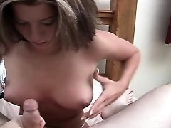 Sexy blonde babe gives blowjob and handjob