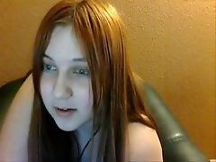 Straight haired chubby webcam girl flashes her plump belly for me