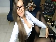 web camera receptionist in african american tights