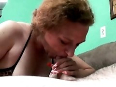 Blonde housewife is happy to give a blowjob on camera