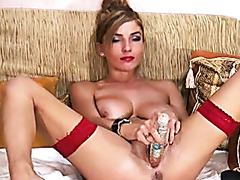 Hard anal masturbation on a webcam