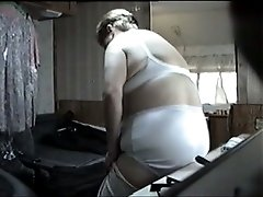 Hidden camera footage of my fat wifey changing clothes
