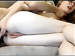 Cute and nerdy light haired webcam nympho sucks her BF on webcam