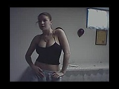 Busty teen girl dancing on webcam