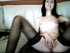 My ex-girlfriend loves to fuck her pussy with her dildo on webcam