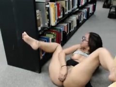 Sexy busty librarian girl dildo fucks her horny pussy on flo