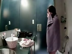 Hidden cam video of my GF drying herself with a towel in front of mirror