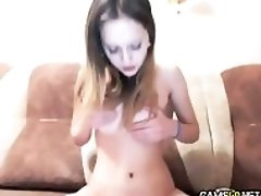 Hot Blonde Teen Babe Rubs Pussy on Webcam