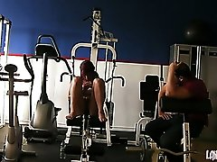Sexy redhead chick Roxy Lane seduces her trainer in gym