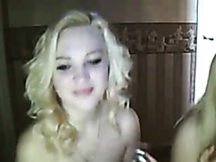 Two blonde lesbian babes in webcam