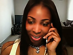 Ebony beauty teasing on webcam