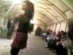 Sexy Arab teen babe belly dances in public on cam