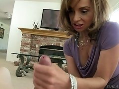 Greedy for cum mom plays with monster cock on a pov camera